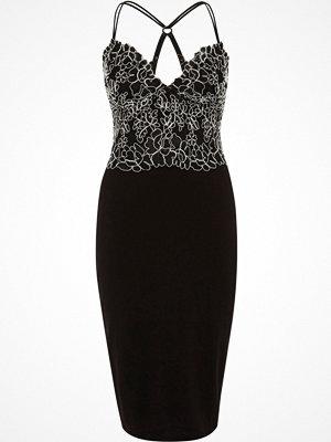 River Island Black lace cami bodycon midi dress