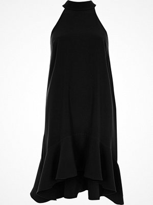 River Island Black high neck frill swing dress