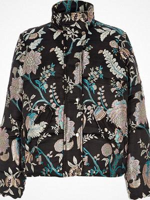 River Island Black floral jacquard puffer jacket