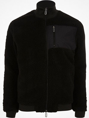 Only and Sons Black teddy fleece zip-up jacket