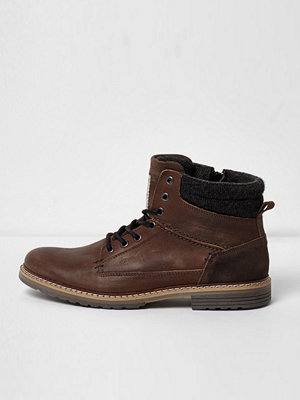 River Island Mid Brown leather lace-up work boots