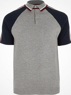 Pikétröjor - River Island Big and Tall Grey block sleeve polo shirt
