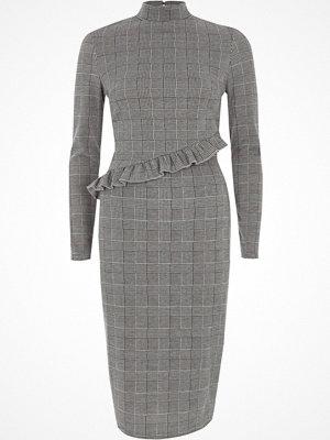River Island Grey check frill high neck midi dress