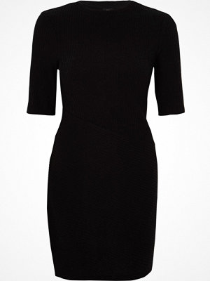 River Island Black brushed rib bodycon dress