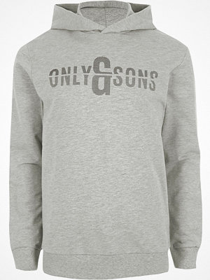 Street & luvtröjor - Only and Sons Grey printed hoodie