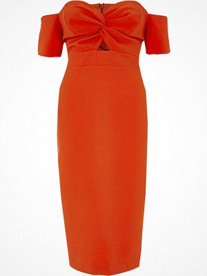 River Island Red knot front bardot bodycon midi dress