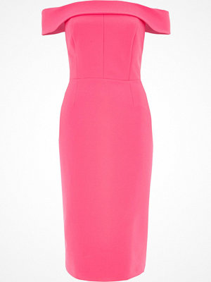 River Island Pink bardot bodycon midi dress