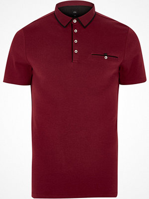 Pikétröjor - River Island Red slim fit contrast trim polo shirt