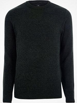 Tröjor & cardigans - River Island Green textured knit slim fit crew neck jumper