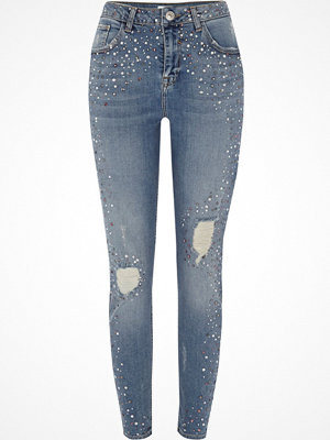 Jeans - River Island Mid Blue studded Alannah relaxed skinny jeans