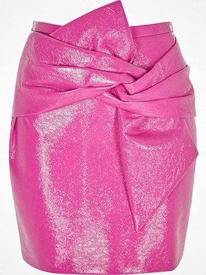 River Island Pink bow front vinyl mini skirt