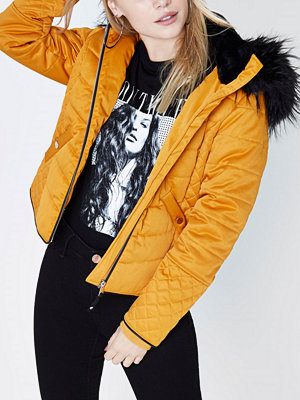 River Island Petite mustard Yellow padded faux fur coat