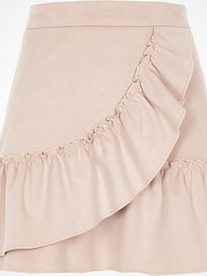 River Island Light Pink faux suede wrap frill mini skirt