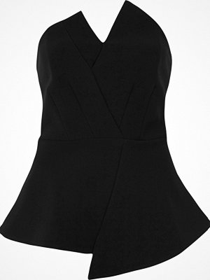 River Island Black asymmetric peplum bandeau top