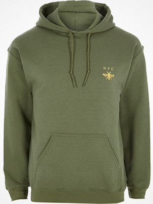 River Island Green NYC wasp chest print hoodie
