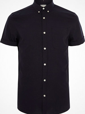 Skjortor - River Island Navy rolled short sleeve Oxford shirt