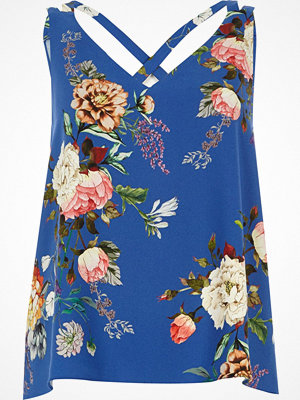 River Island Petite Blue floral double strap cross vest
