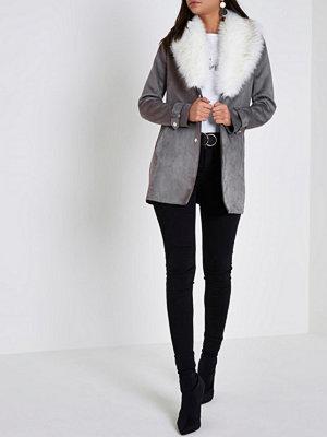 River Island Grey faux fur collar shawl coat