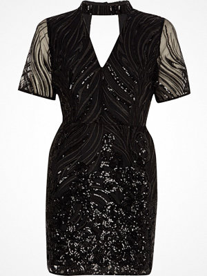 River Island Petite Black sequin high neck dress