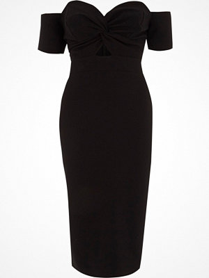 River Island Black knot front bardot bodycon midi dress