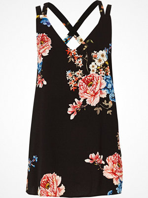 River Island Black floral double strap cross back vest