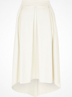 River Island White faux leather high low midi skirt