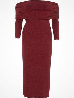 River Island Dark Red ruched folded bardot knit midi dress