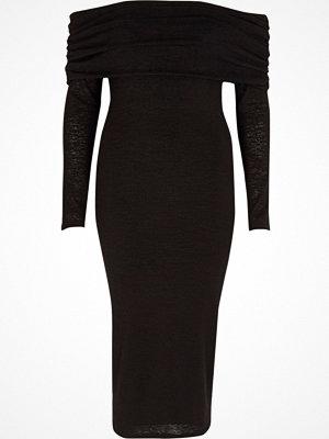 River Island Black ruched folded bardot knit midi dress