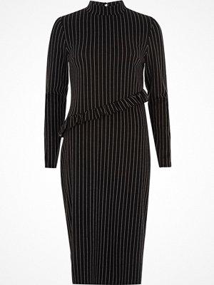 River Island Black pin stripe high neck frill midi dress