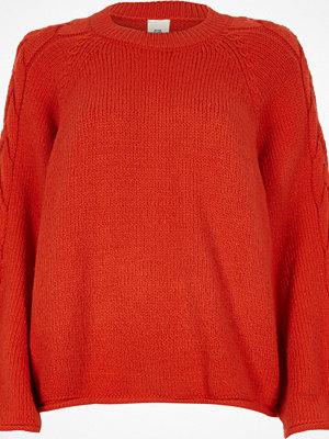 River Island Red wide cable knit sleeve jumper
