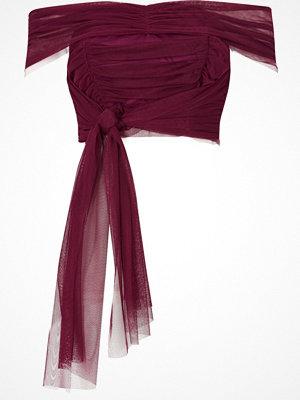 River Island Dark Pink tulle wrap bandeau crop top