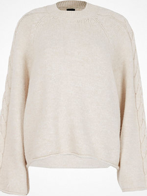River Island Cream wide cable knit sleeve jumper