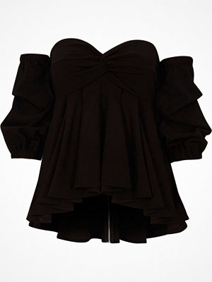 River Island Black bardot puff sleeve peplum top