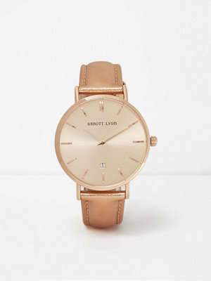 Klockor - River Island Metallic rose Gold leather Abbott Lyon watch