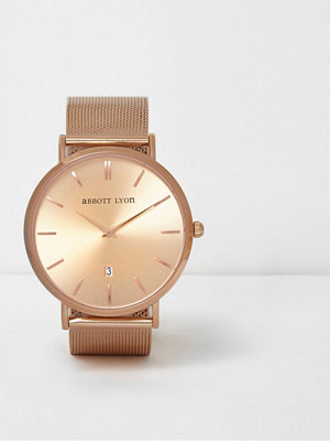 Klockor - River Island Rose Gold plated Abbott Lyon mesh watch