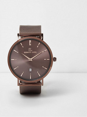 Klockor - River Island Copper Brown Abbott Lyon mesh strap watch