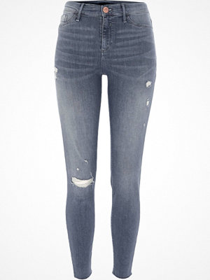 Jeans - River Island Grey Molly ripped skinny jeggings