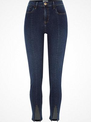 River Island Dark Blue Amelie hem split super skinny jeans