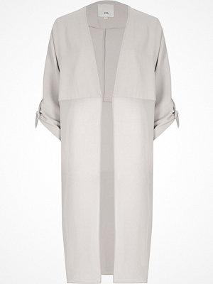 River Island Light Grey sheer panel duster coat