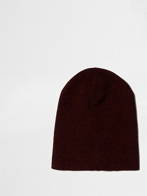 Mössor - River Island Red slouch knitted beanie hat