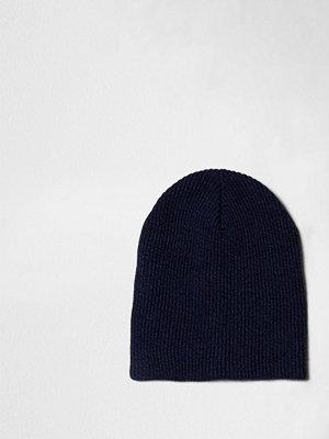 Mössor - River Island Blue rib knit slouch beanie hat