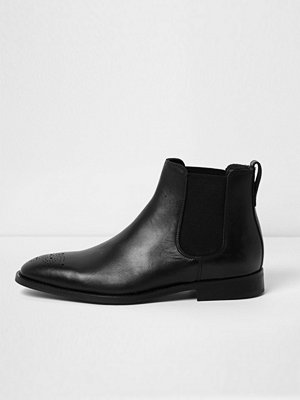 River Island Black leather brogue chelsea boots