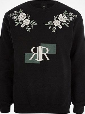 Tröjor & cardigans - River Island Black RI print floral embroidered sweatshirt