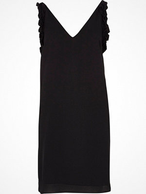 River Island Black ruffle V neck slip dress