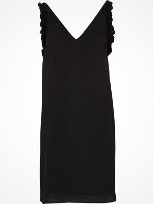 River Island Black ruffle V neck slip dress