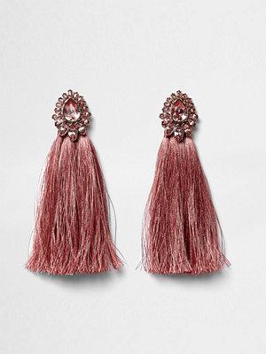 River Island örhängen Pink tear drop jewel tassel earrings