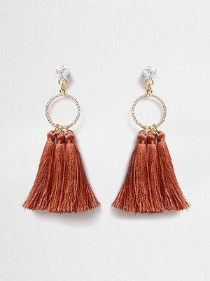 River Island örhängen Orange diamante circle tassel drop earrings