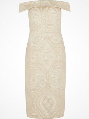 River Island Cream lace bardot bodycon midi dress