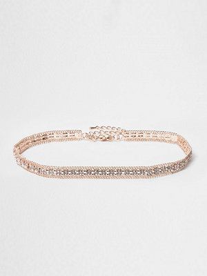 River Island halsband Rose Gold tone diamante choker
