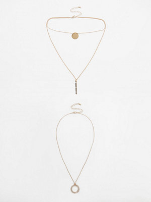 River Island halsband Gold tone disk pave multilayer necklace set